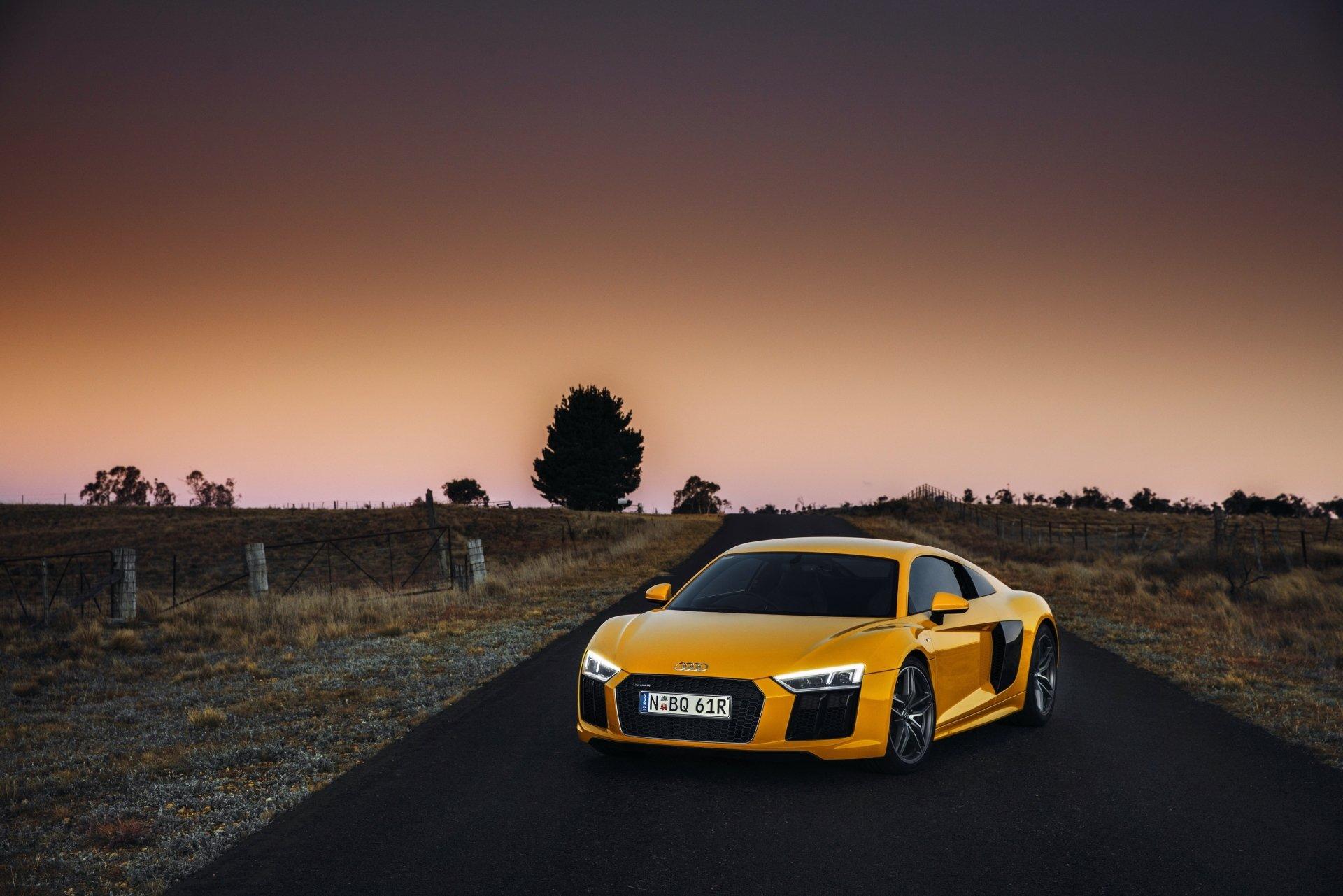 Vehicles - Audi R8  Audi R8 V10 Audi Yellow Car Car Vehicle Sport Car Supercar Wallpaper