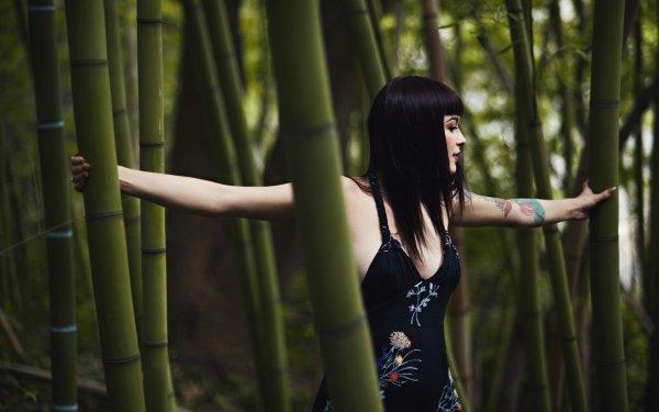 Women Mood Brunette Bamboo Tattoo Dress HD Wallpaper   Background Image