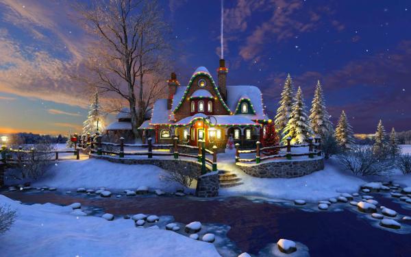 Día festivo Navidad Casa Luz Snow Cerca Árbol Fondo de pantalla HD | Fondo de Escritorio