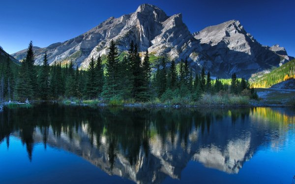 Earth Mountain Mountains Alberta Canada Lake Reflection Tree Nature HD Wallpaper | Background Image
