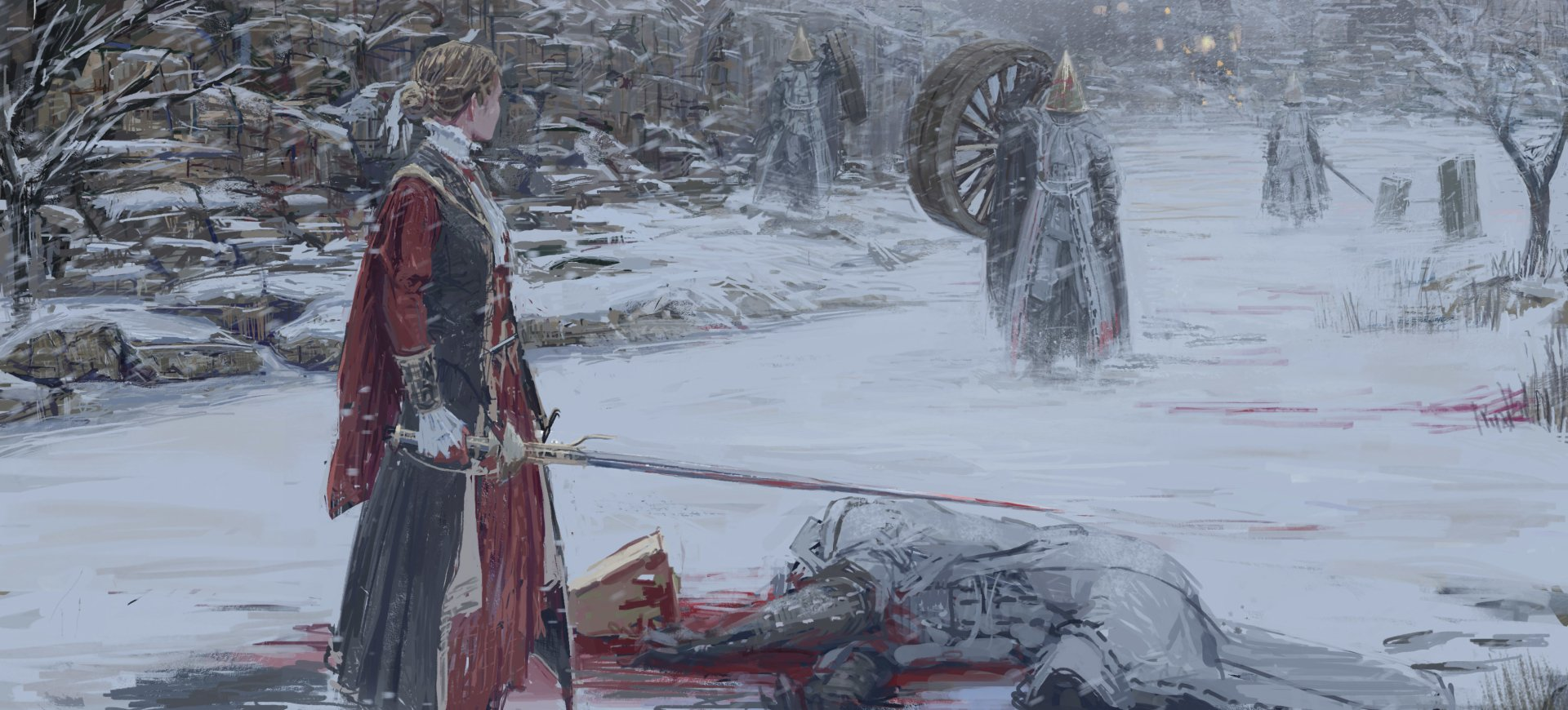Video Game - Bloodborne  Woman Warrior Sword Winter Snow Snowfall Wallpaper