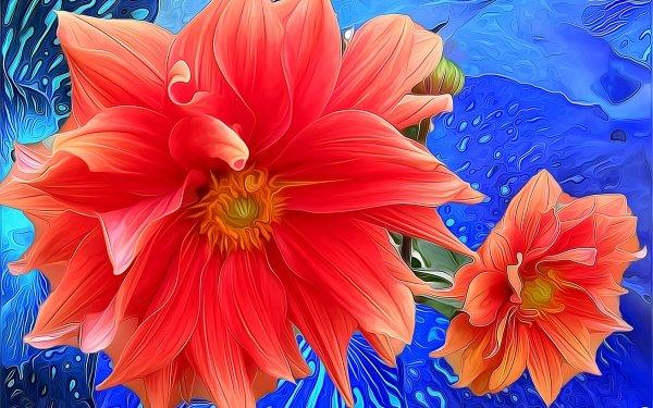 Artistic Flower Flowers Pink Daisy Painting Dahlia Colors Orange Flower HD Wallpaper | Background Image
