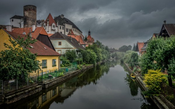 Man Made Village Austria Canal House Reflection HD Wallpaper | Background Image