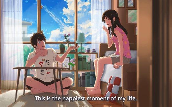 Anime Your Name. Mitsuha Miyamizu Taki Tachibana Kimi No Na Wa. Bedroom Barefoot Brown Hair Fond d'écran HD | Image