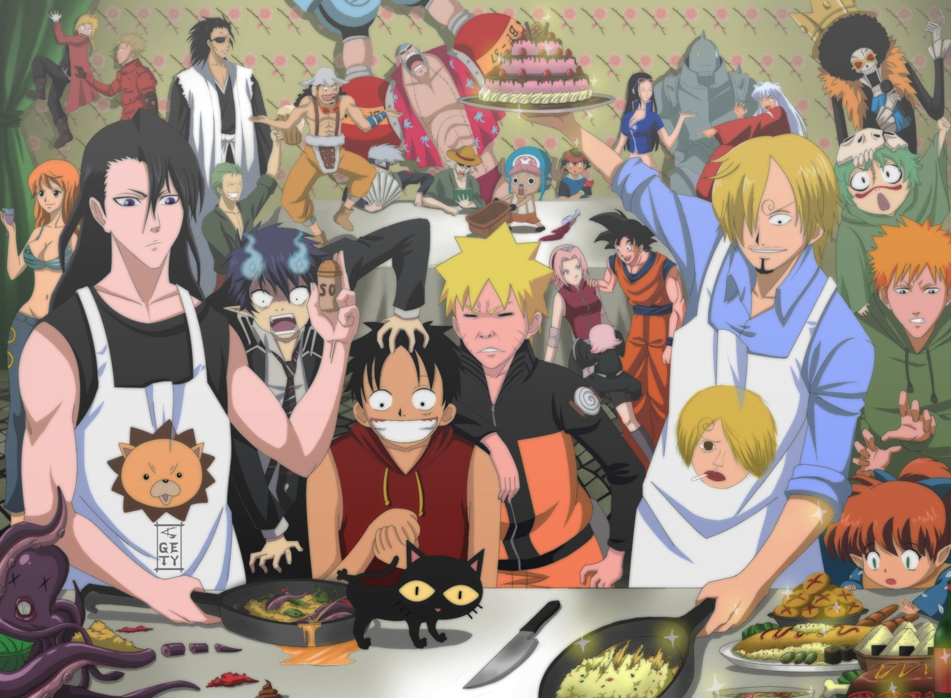Anime - Crossover  One Piece Kenpachi Zaraki Usopp (One Piece) Kisuke Urahara Goku Zoro Roronoa Sanji (One Piece) Rin Okumura Ichigo Kurosaki Byakuya Kuchiki Kakashi Hatake Trigun Nico Robin Monkey D. Luffy Tony Tony Chopper Nami (One Piece) Sakura Haruno Franky (One Piece) Edward Elric Brook (One Piece) Alphonse Elric Dragon Ball Z Pokémon Dragon Ball Naruto Bleach Vash the Stampede InuYasha Fullmetal Alchemist Wallpaper