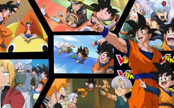 Anime Crossover Monkey D. Luffy Goku Naruto Uzumaki Trunks Goten Gintoki Sakata Edward Elric Alphonse Elric Ichigo Kurosaki HD Wallpaper | Background Image