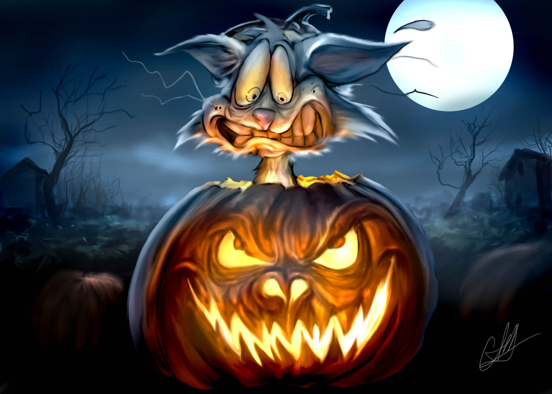 Holiday - Halloween  Holiday Jack-o'-lantern Rabbit Wallpaper