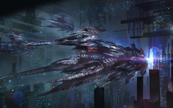Sci Fi Spaceship City HD Wallpaper | Background Image