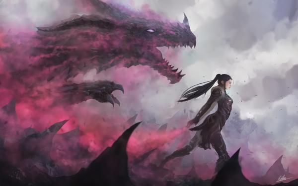 Fantasy Dragon Magic Smoke Woman Ponytail HD Wallpaper | Background Image