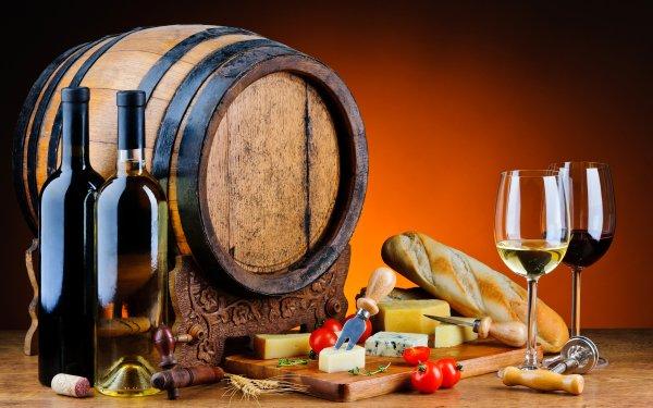 Food Still Life Barrel Wine Cheese Bottle Bread HD Wallpaper | Background Image