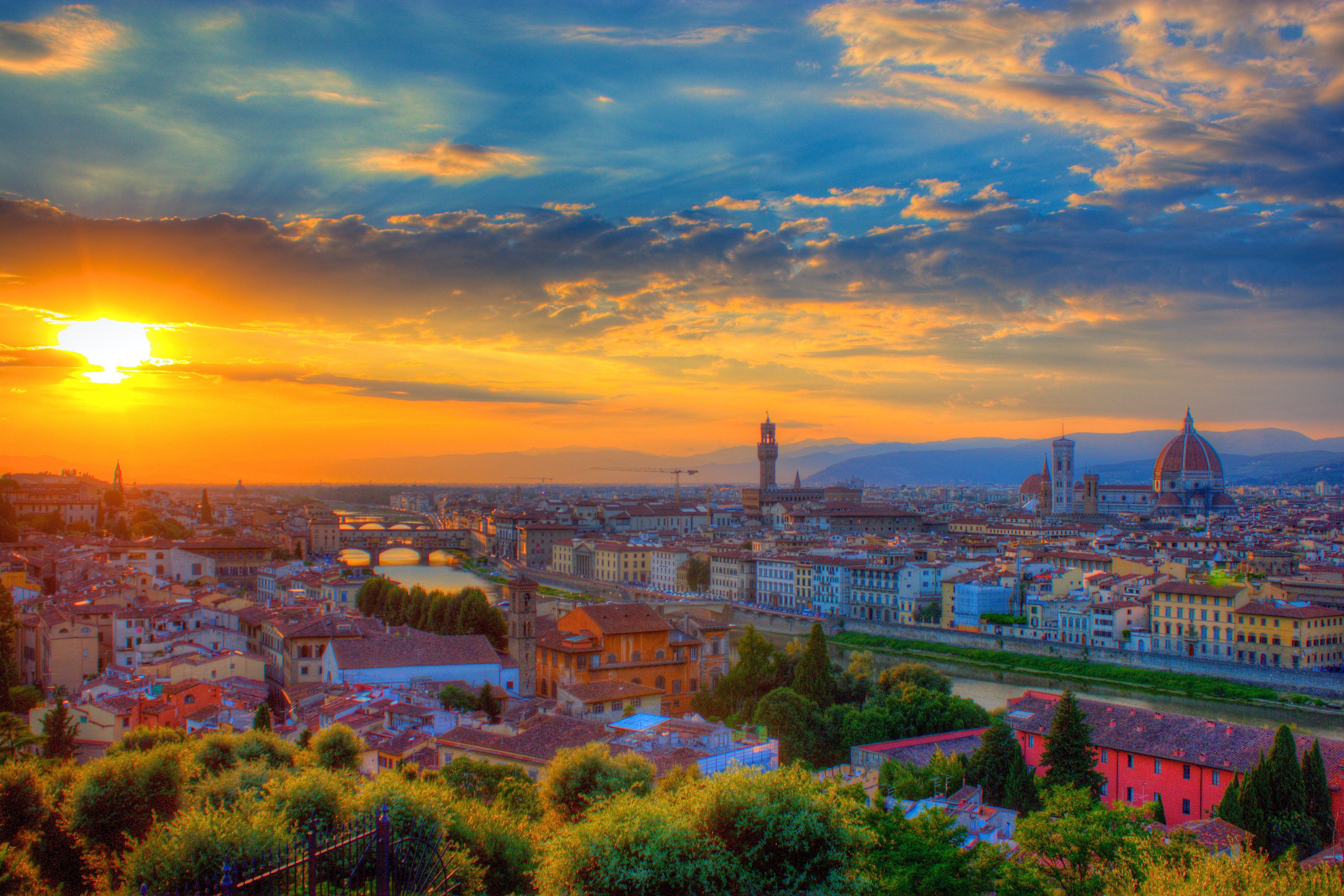 Florence Italy At Sunset 4k Ultra Fondo De Pantalla Hd