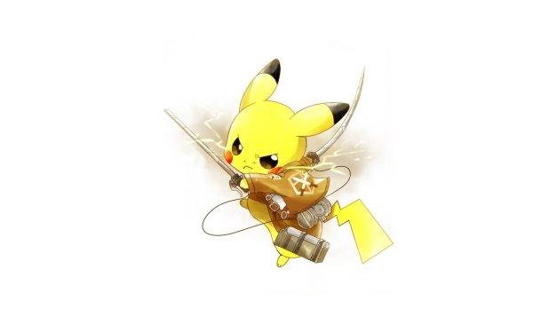 Anime Crossover Pikachu Pokémon Ataque a los titanes Shingeki No Kyojin Fondo de pantalla HD | Fondo de Escritorio