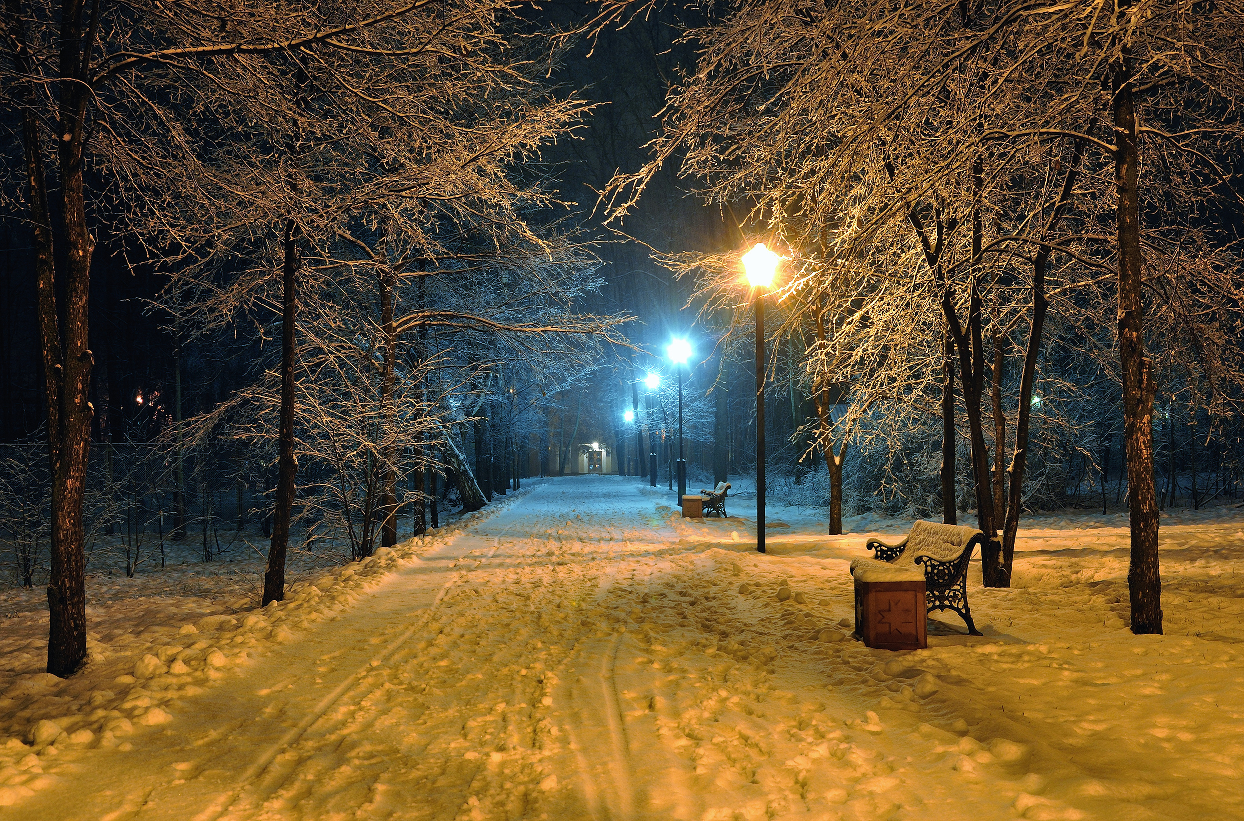 winter street at night 4k ultra hd wallpaper and background image