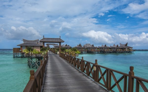 Man Made Pier Tropical Malaysia Bungalow Ocean Sea HD Wallpaper | Background Image
