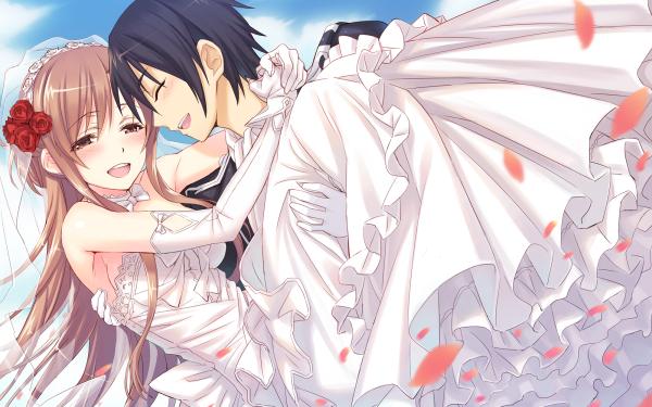 Anime Sword Art Online Kirito Asuna Yuuki Wedding Dress HD Wallpaper | Background Image