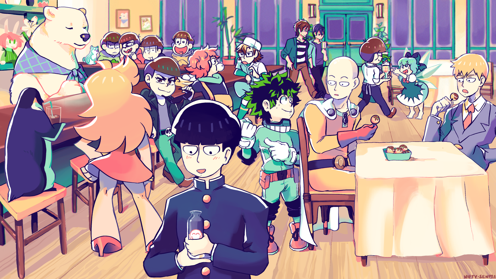 Anime - Crossover  Shigeo Kageyama Saitama (One-Punch Man) Izuku Midoriya Arataka Reigen Makoto Tachibana Haruka Nanase Osomatsu Matsuno Karamatsu Matsuno Choromatsu Matsuno Ichimatsu Matsuno Jyushimatsu Matsuno Todomatsu Matsuno Osomatsu-san Boku no Hero Academia My Hero Academia Mob Psycho 100 One Punch-Man Free! Cucumber (Cucumber Quest!) Panty (Panty & Stocking with Garterbelt) Panty & Stocking with Garterbelt Wallpaper