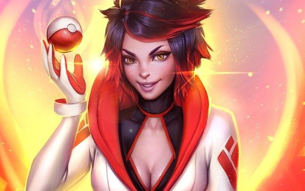 Video Game Pokémon GO Pokémon Team Valor Girl Yellow Eyes Short Hair Smile HD Wallpaper   Background Image