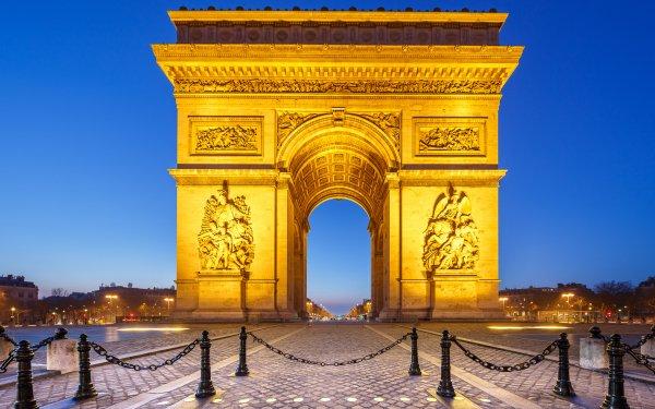 Man Made Arc De Triomphe Monuments Monument Paris France Night HD Wallpaper   Background Image