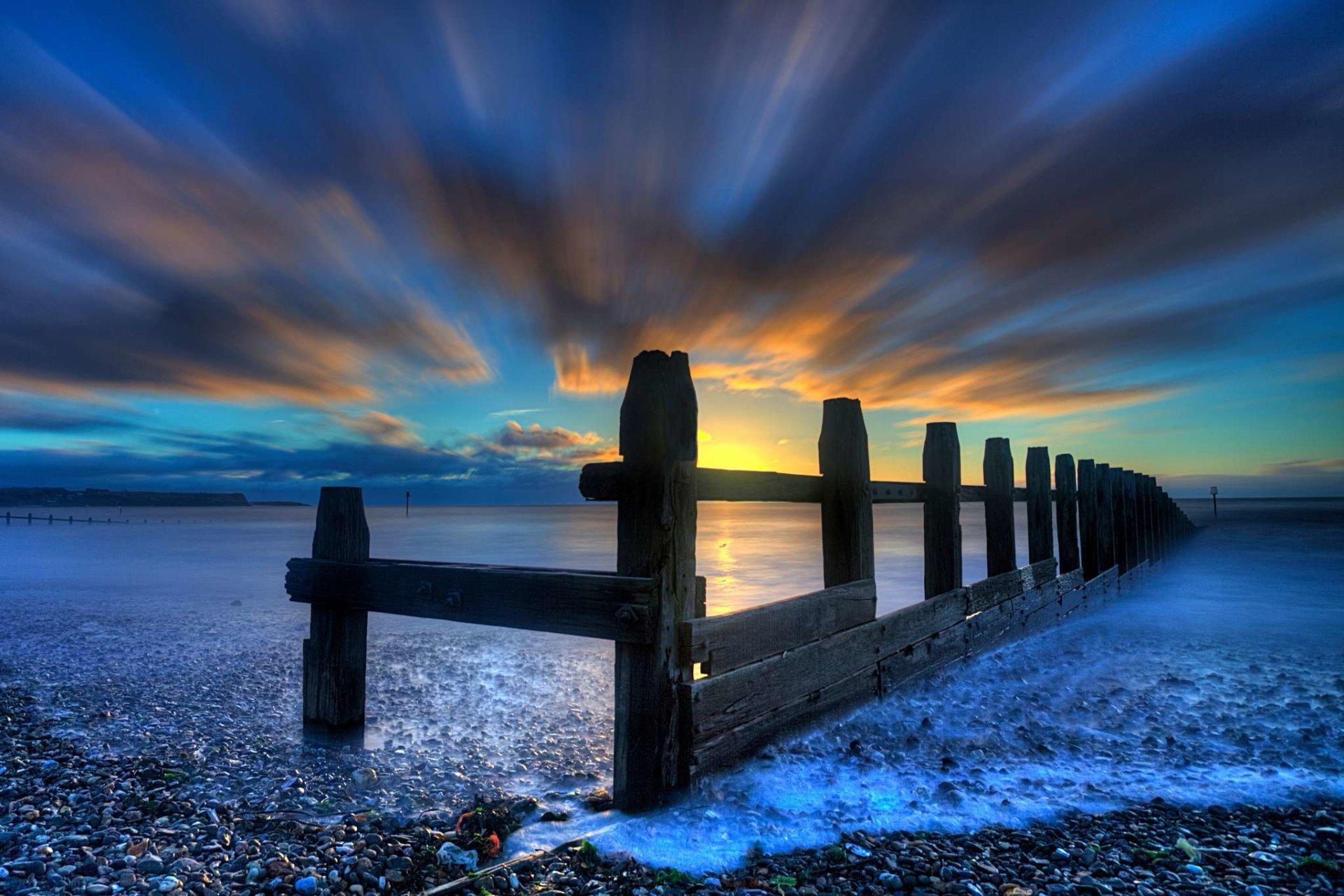 Man Made - Fence  Sky Blue Sunset Ocean Sea Wallpaper