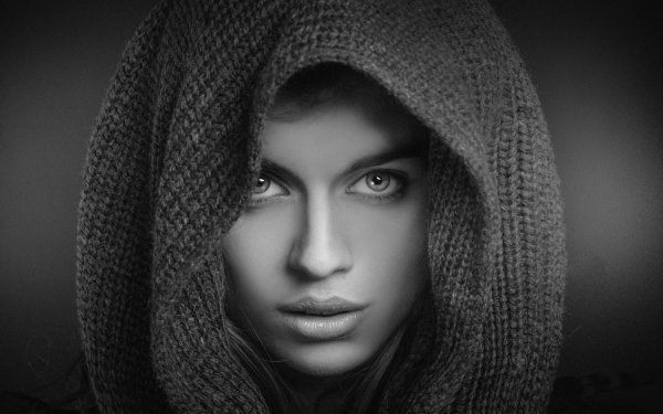 Women Face Woman Black & White Hood HD Wallpaper | Background Image