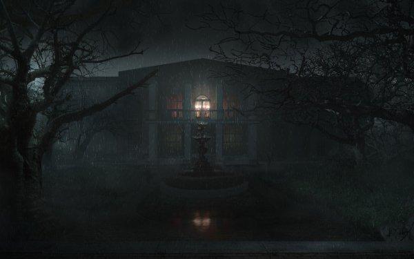 Dark House Rain Night Fountain HD Wallpaper | Background Image