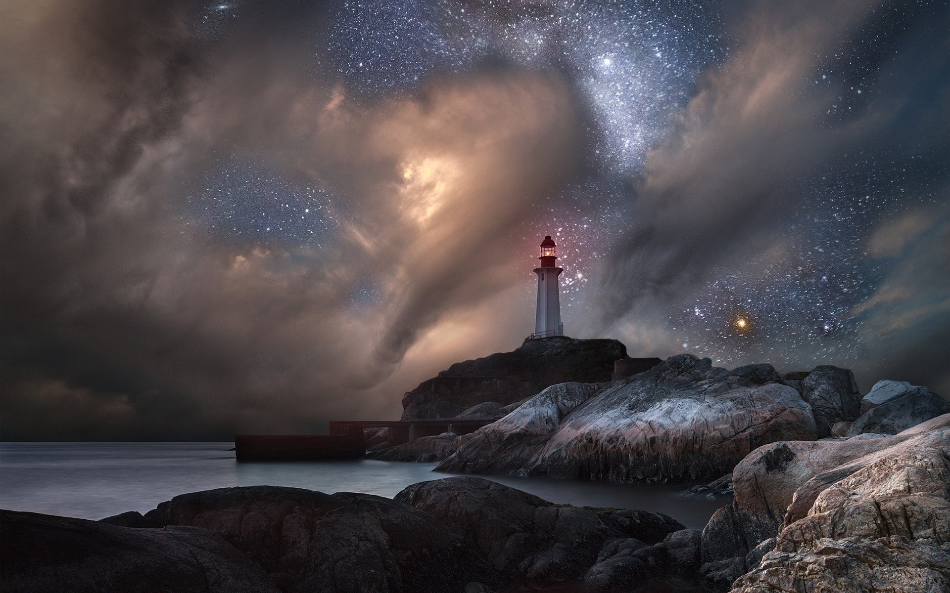 Lighthouse on Starry Night HD Wallpaper | Background Image ...