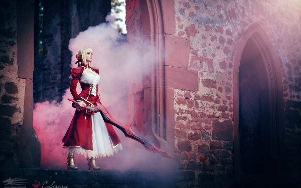Women Cosplay Saber Fate/extra Sword Red Saber Nero Claudius HD Wallpaper   Background Image