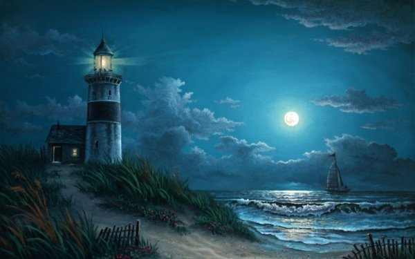 Artistic Painting Blue Night Lighthouse Moon Ocean Sea Sailboat HD Wallpaper | Background Image