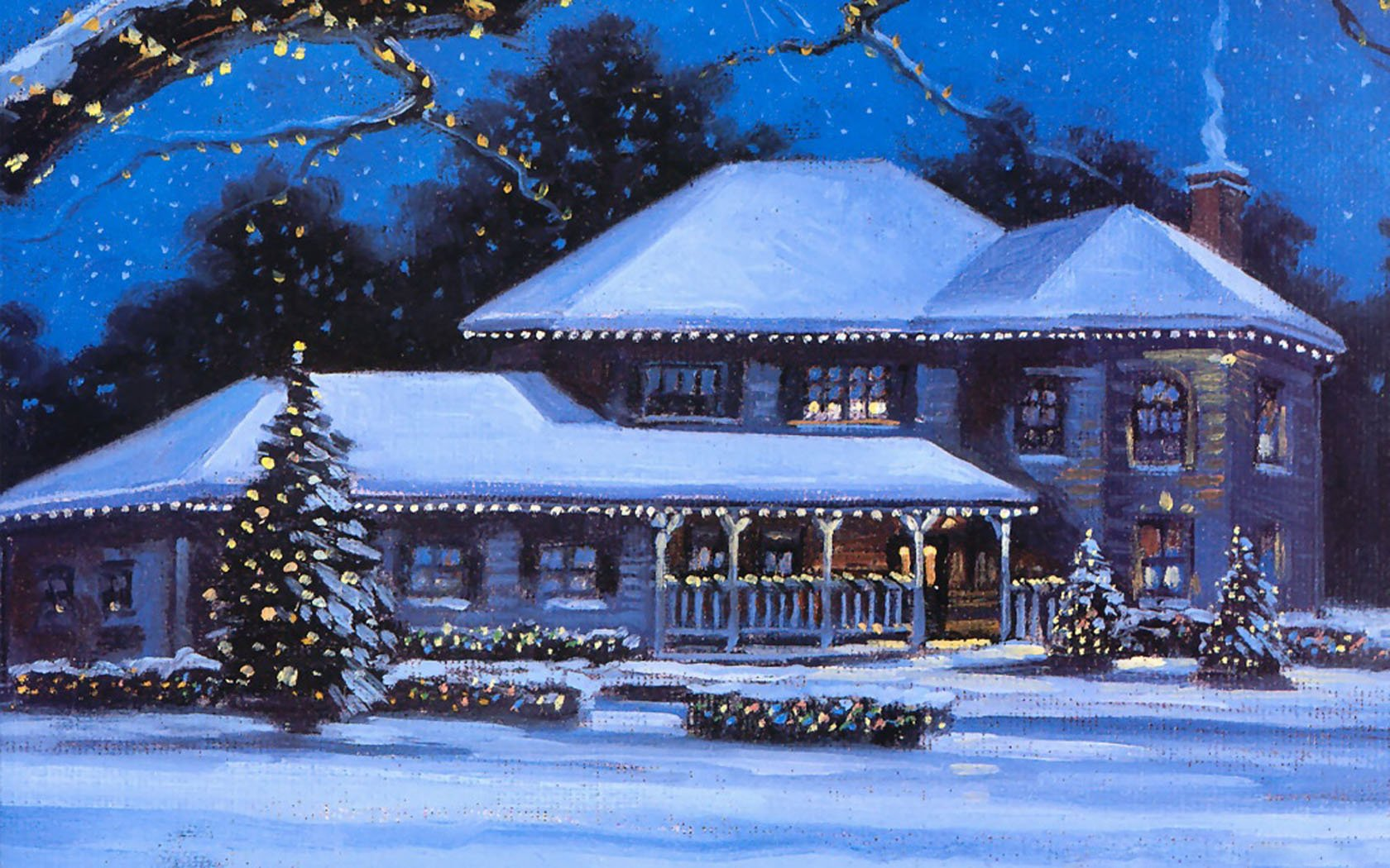 House At Christmas Time Wallpaper And Background Image