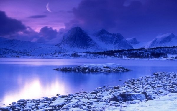 Earth Winter Landscape Norway Snow Lake Mountain Forest Sky Blue Moon Cloud Sunset HD Wallpaper | Background Image
