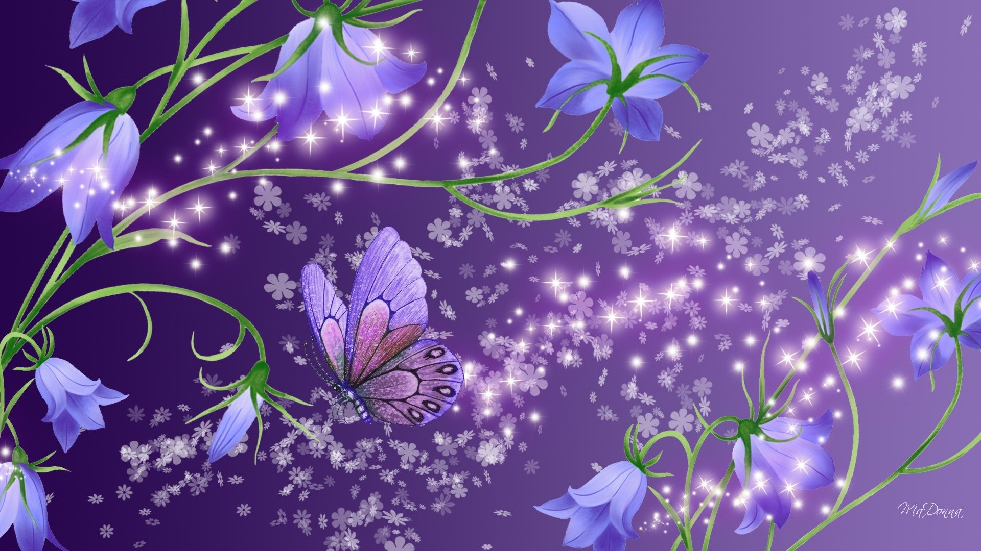 Flowers and Butterfly HD Wallpaper   Background Image ...
