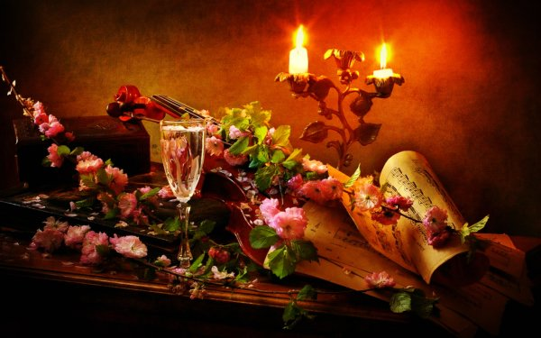 Photography Still Life Flower Sheet Music Candle Violin HD Wallpaper | Background Image