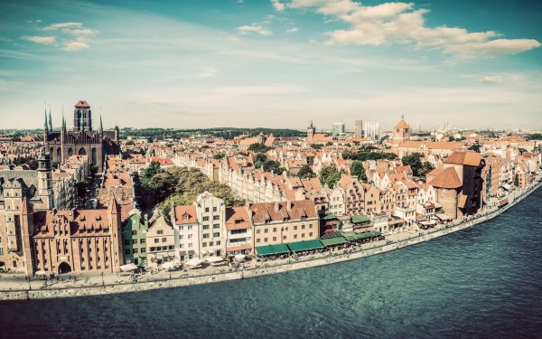 Man Made Gdansk Towns Poland River House Sky City HD Wallpaper | Background Image