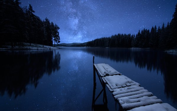 Earth Lake Lakes Dock Snow Night Sky Starry Sky Winter Reflection Nature HD Wallpaper | Background Image