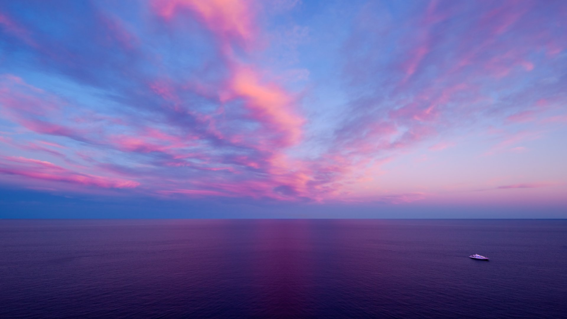 Pink Ocean Sunset Full HD Wallpaper And Background Image
