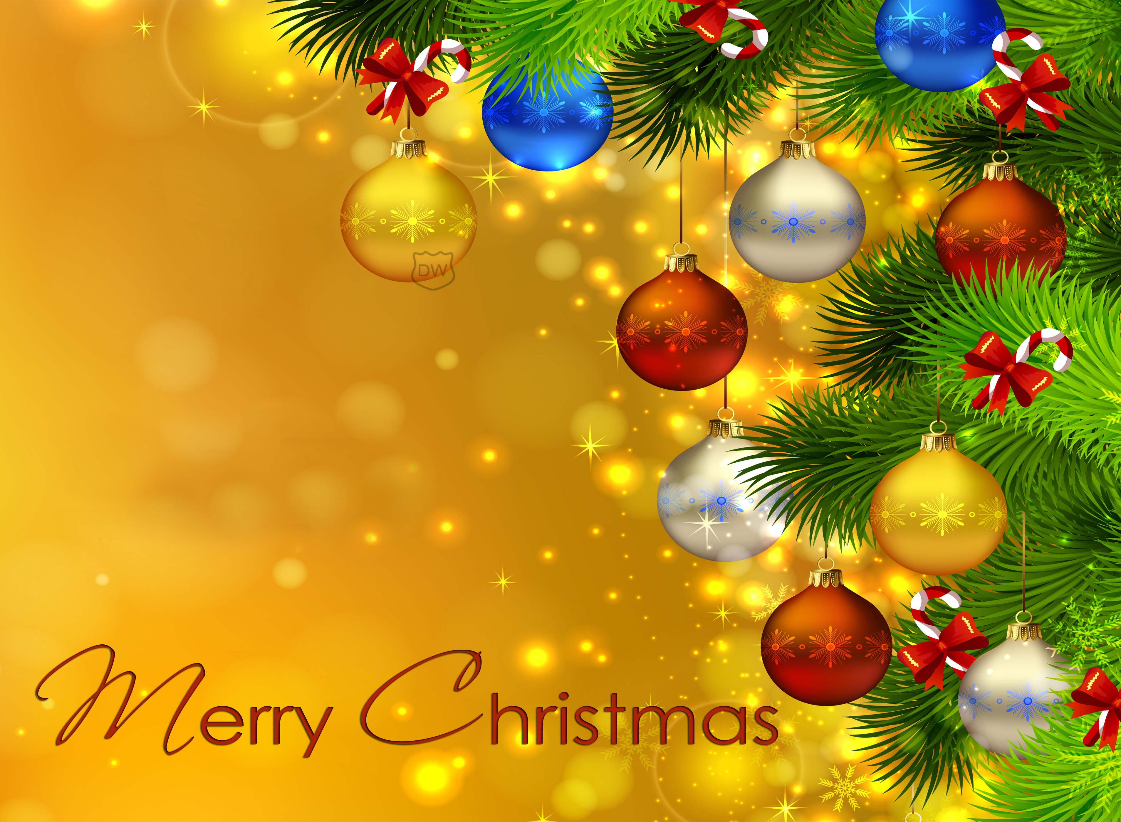 Christmas Wall Paper.Colorful Christmas Ornaments Hd Wallpaper Background Image