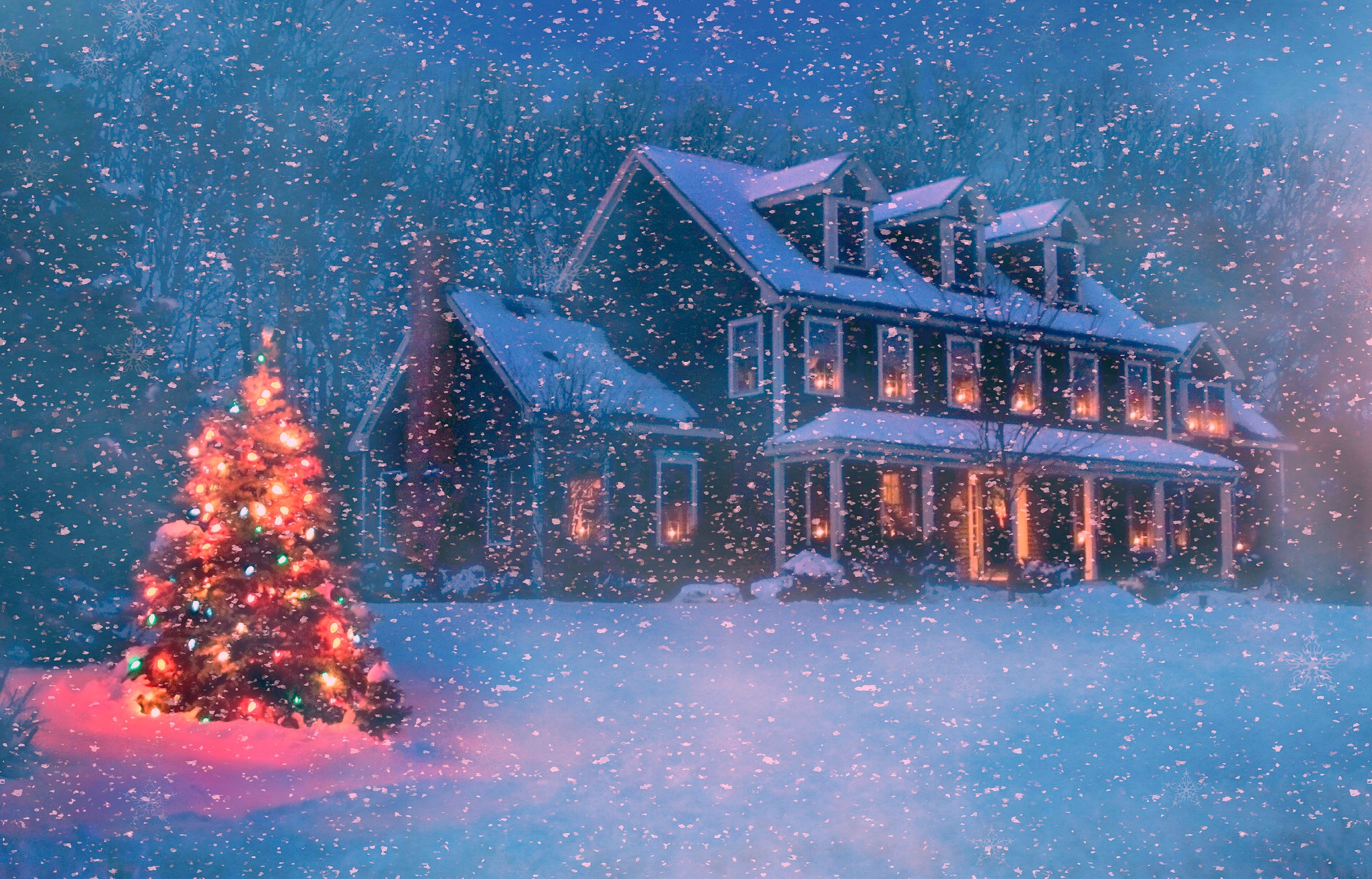 Christmas house in winter snowstorm full hd wallpaper and for Wallpaper live home