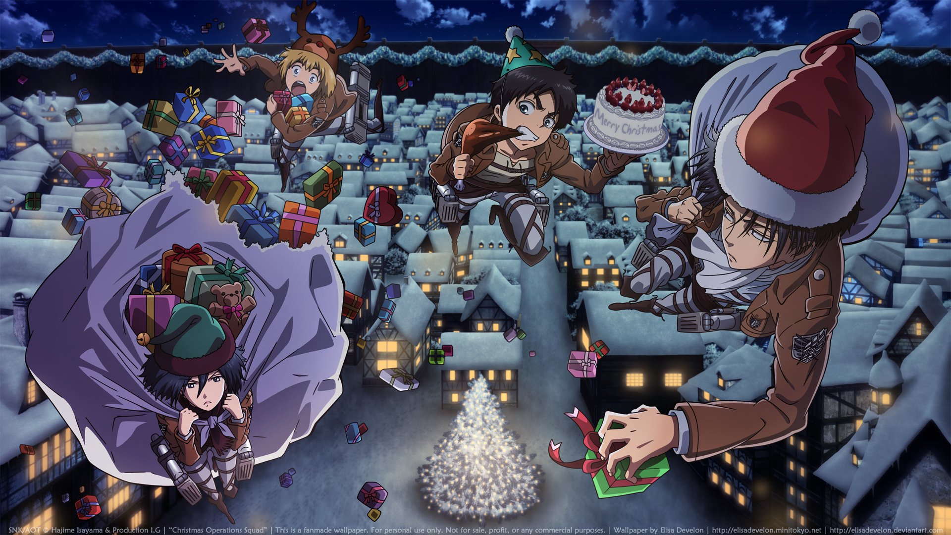 1 Attack On Titan Christmas Hd Wallpapers Background Images Wallpaper Abyss