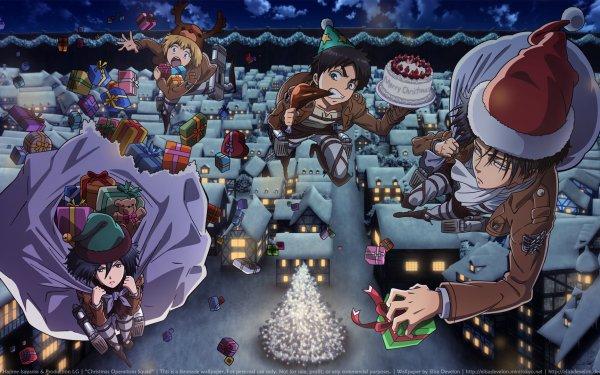Anime Attack On Titan Mikasa Ackerman Levi Ackerman Eren Yeager Armin Arlert Christmas HD Wallpaper | Background Image