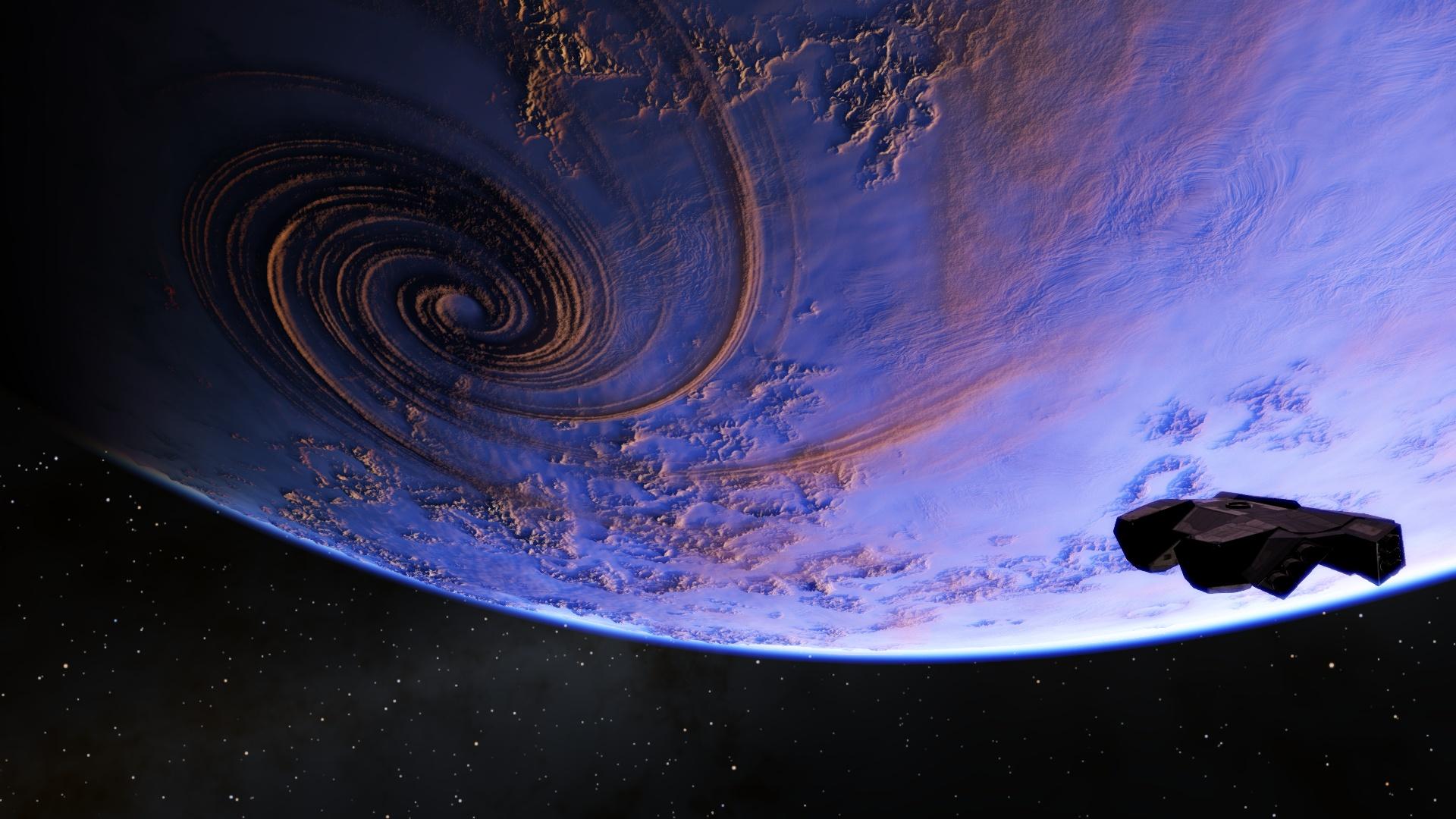 spaceengine吧_Astarshiporbitingaroundaplanet(SpaceEngine)HDWallpaper BackgroundImage