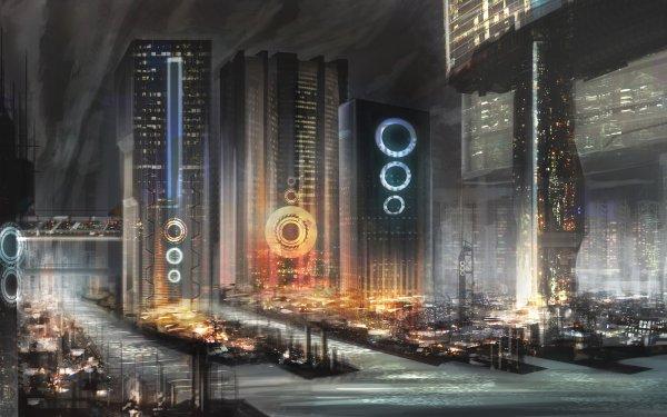 Sci Fi City Building Skyscraper Futuristic City HD Wallpaper   Background Image