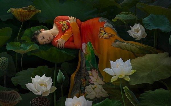 Fantasy Women Flower Lotus Leaf Sleeping Butterfly HD Wallpaper | Background Image