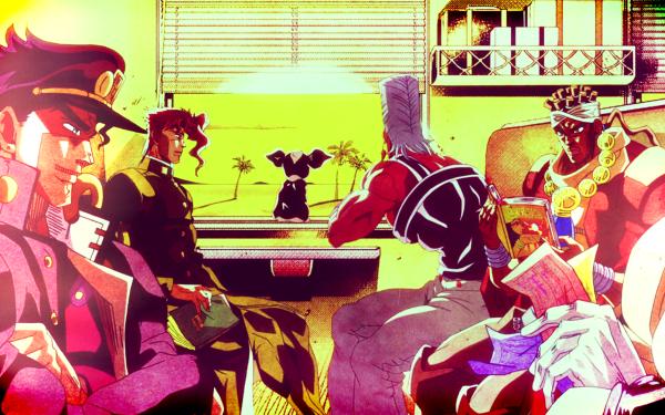 Anime Jojo's Bizarre Adventure Jotaro Kujo Muhammad Avdol Iggy Noriaki Kakyoin Jean Pierre Polnareff Joseph Joestar HD Wallpaper | Background Image