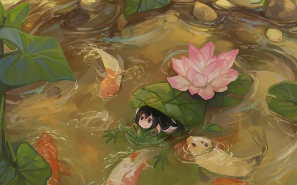 Anime My Hero Academia Tsuyu Asui Frog Pond Fish Leaf HD Wallpaper | Background Image