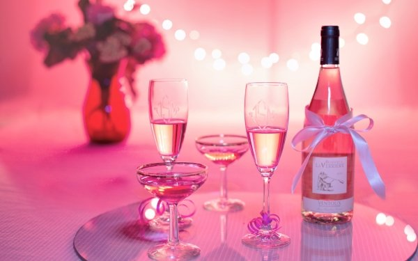 Food Wine Champagne Alcohol Pink Glass Still Life HD Wallpaper | Background Image