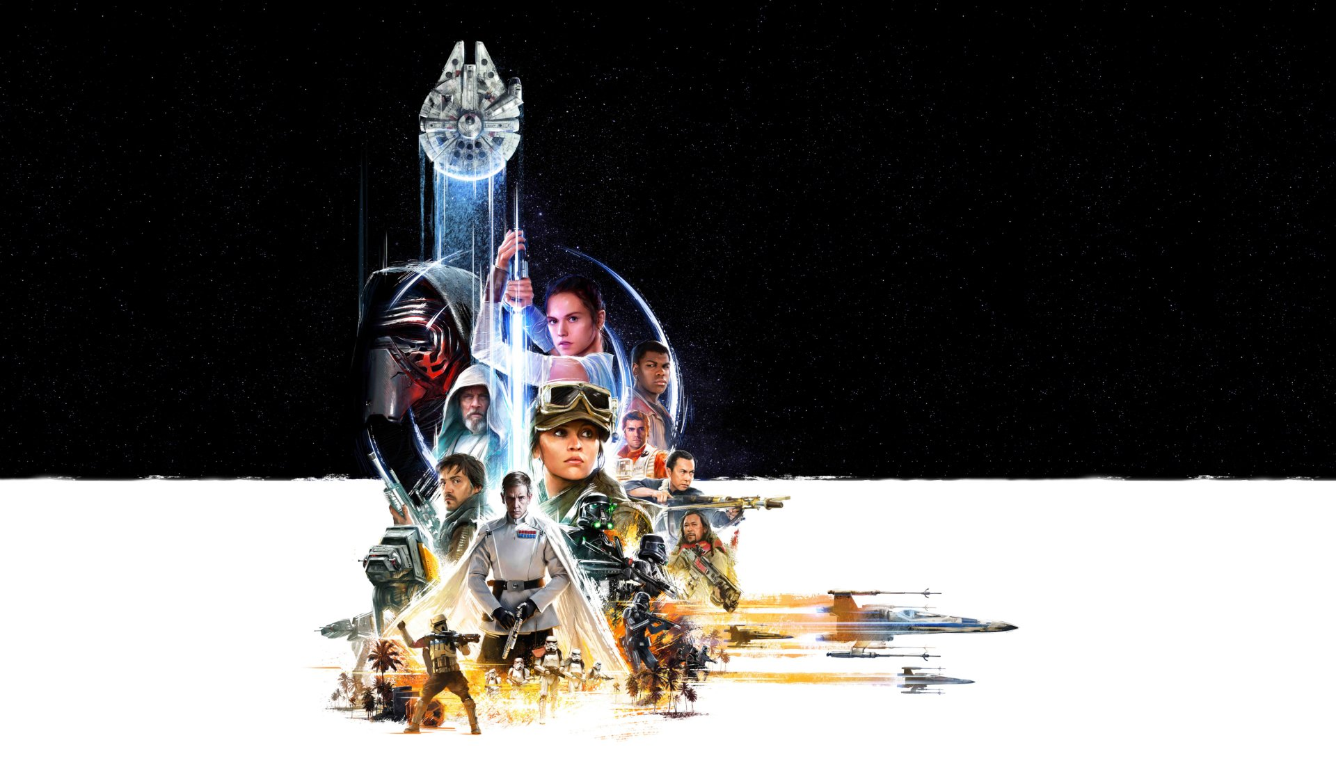 Movie - Star Wars  Kylo Ren Oscar Isaac Jyn Erso Diego Luna Ben Mendelsohn Cassian Andor Donnie Yen Luke Skywalker Poe Dameron Rey (Star Wars) Felicity Jones Adam Driver Mark Hamill Daisy Ridley John Boyega Finn (Star Wars) Millennium Falcon Rogue One: A Star Wars Story Star Wars Episode VII: The Force Awakens Collage Wallpaper
