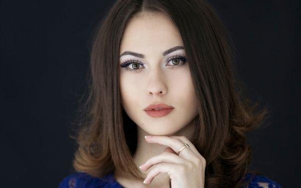 Kvinnor Catherine Timokhina Models Russia Woman Model Brunette Face Brown Eyes HD Wallpaper | Background Image
