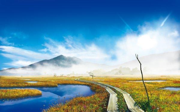 Anime Original Mountain Grass Reflection Fog Cloud Colorful Sky HD Wallpaper   Background Image