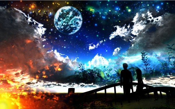 Anime Original Planet Fantasy Fire Sky Cloud Bridge Night 3D CGI Stars HD Wallpaper | Background Image