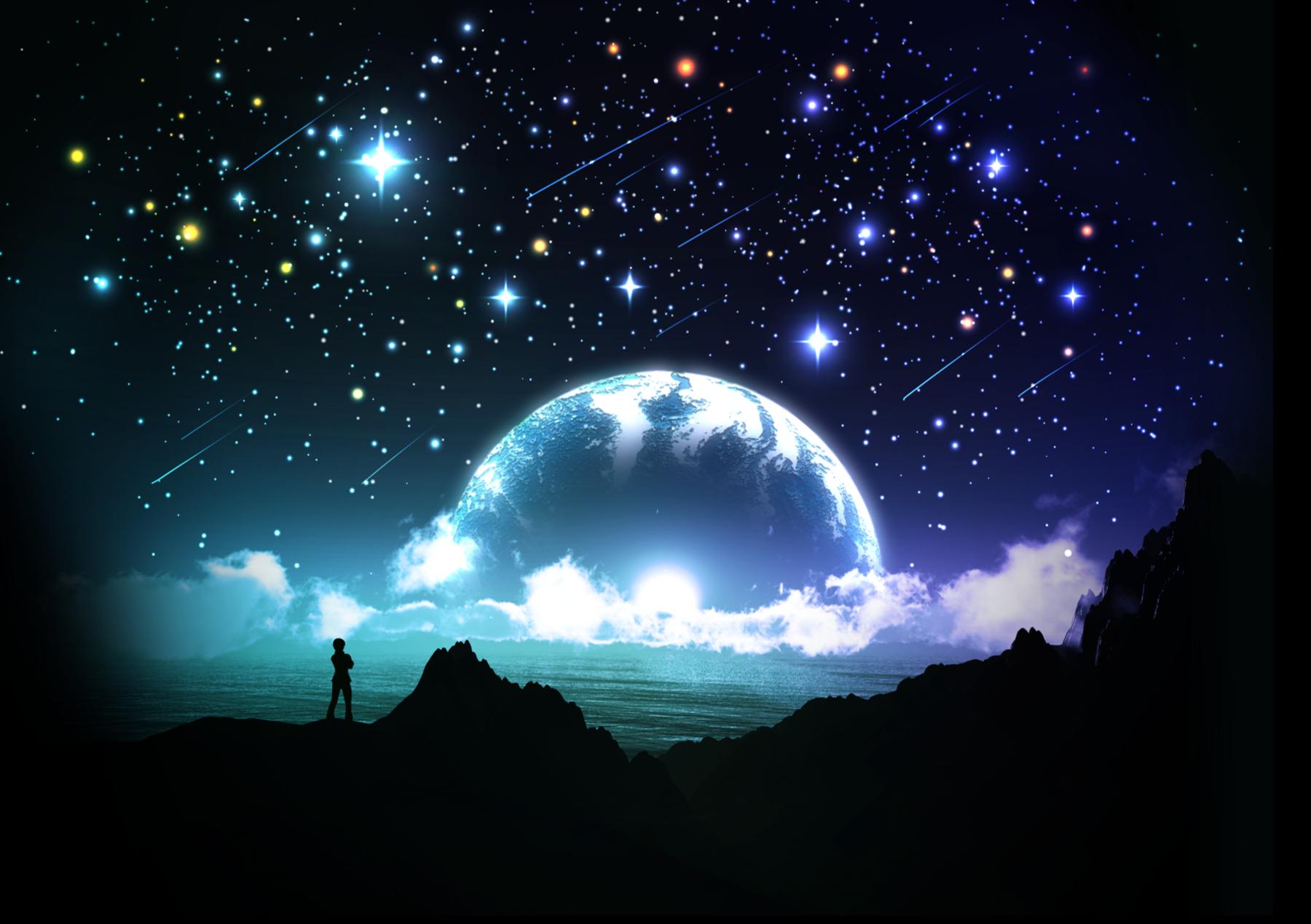 Anime - Original Fantasy Planet Boy Stars Night Blue Water Ocean Wallpaper